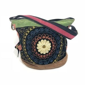 Lucky Brand Leather Flower Tapestry Bag.
